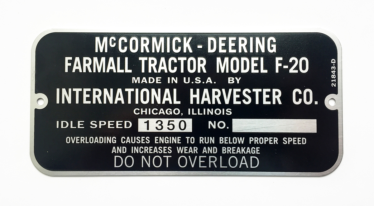 international harvester serial number plates octane press Farmall F-14 serial number plate for a 1932 f 20