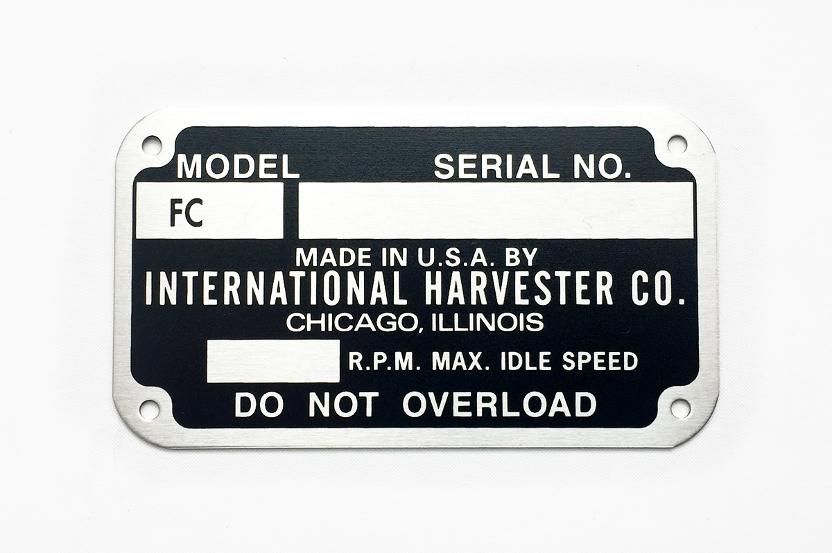 International Harvester Serial Number Plates | Octane Press